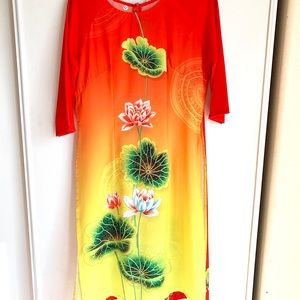 Dresses & Skirts - Sexy bright colors Ao Dai set with pants